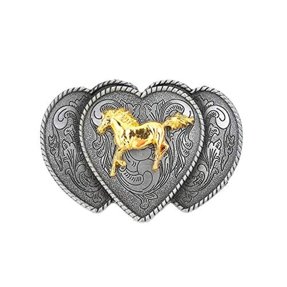 Three Connect Shape Gold Runing Horse Belt  Buckle For Man Western Cowboy Buckle Without Belt Custom Alloy Width 4cm