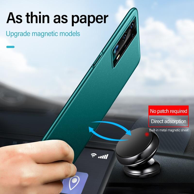 Ultra-Delgado magnético duro Mate PC funda de teléfono para Huawei P40 P30 P20 Pro Lite Mate 30 20 Honor 8X Frosted cubierta de protección Coque