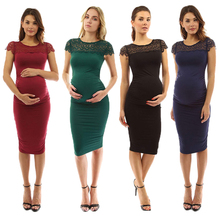 цена на Maternity Dress Summer Sexy Maternity Dress Pregnant Lace O-Neck Pure Color Lace-up Short Sleeve Dress Elastic Cotton Clothing