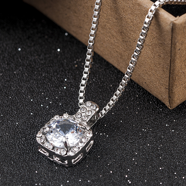 New Fashion 2019 Square Rhinestone Crystal Zircon Pendant Necklace Women Silver Metal Chain Necklace Jewelry 2