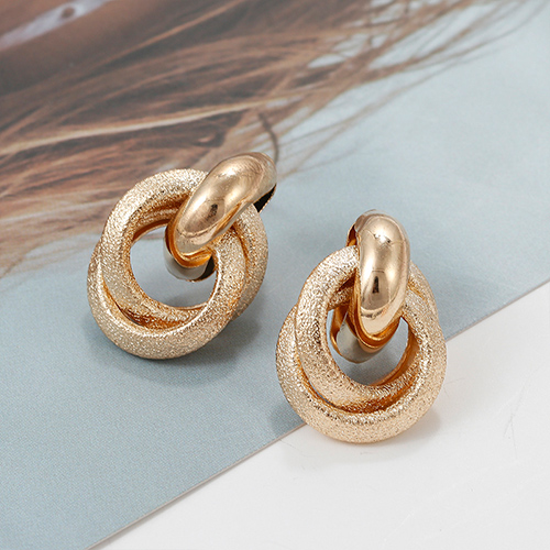 Flashbuy Gold Color Alloy Drop Earrings For Women Simple Exaggeration Earrings Wedding Fashion Jewelry Trendy Accessories 5