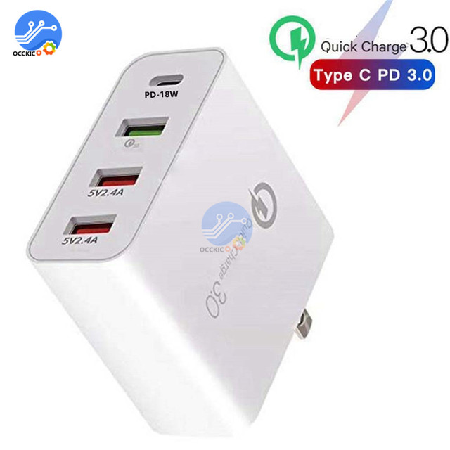 4 Port USB Charger QC3.0 Quick Charg for iPhone Samsung 48W Phone Universal Fast Charge Wall Adapter US EU UK AU Plug
