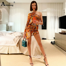 Aimsnug Female The Dress One-Shoulder Abstract Print  Streetwear 2019 New Summer Womens Short vestidos