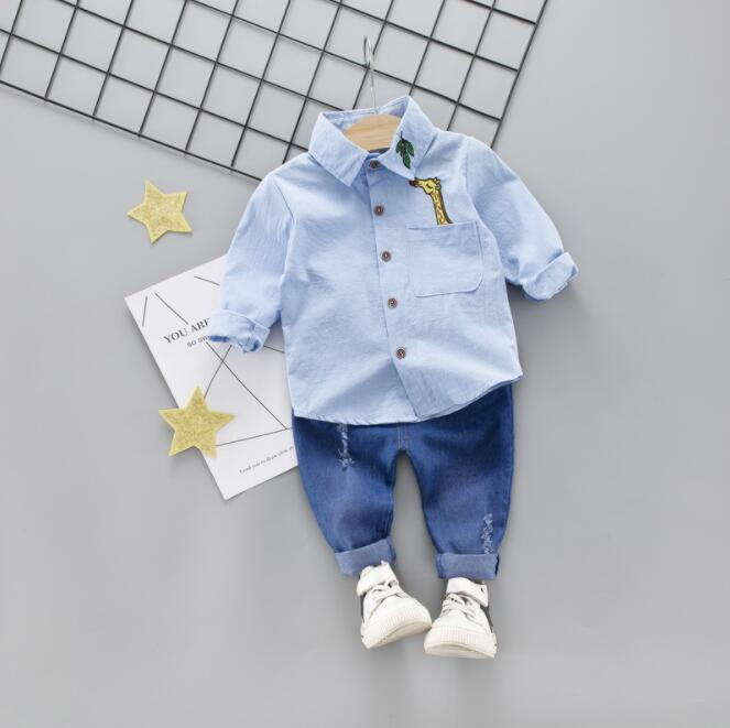 Summer Kids Toddler rainbow Shirts Jeans 2pcs set 1 4 Years Clothing Set Short Sleeve Cotton Suit Children Clothing Boys Outfit in Clothing Sets from Mother Kids