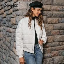 Padded Coat Jackets Simplee Women Parka Outwear Short Zippers Warm Female Ladies Casual