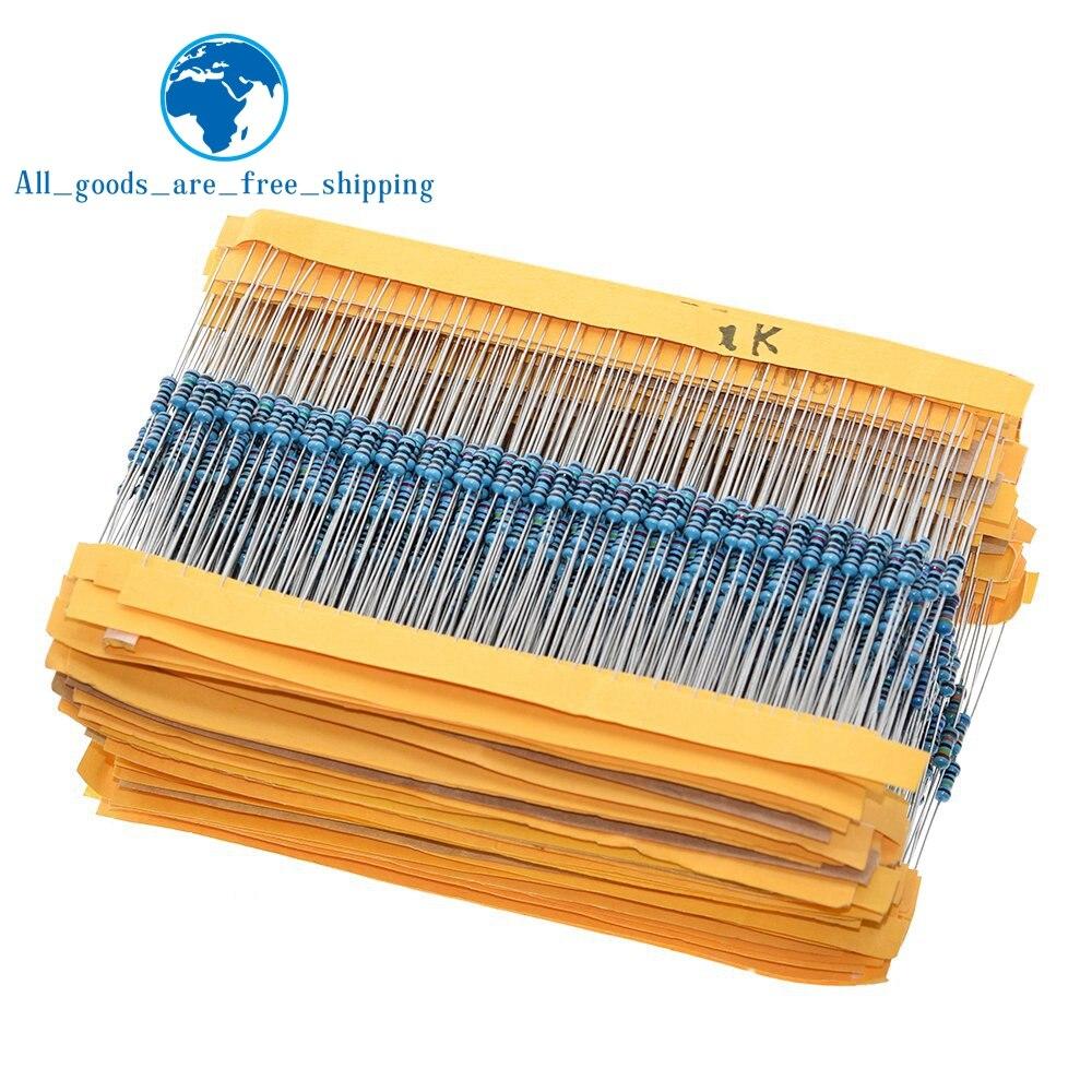 TZT 100 Uds 1/4W 1R ~ 22M 1% resistencia de película de Metal 100R 220R 1K 1,5 K 2,2 K 4,7 K 10K 22K 47K 100K 100 de 220 1K5 2K2 4K7 ohm resistencia