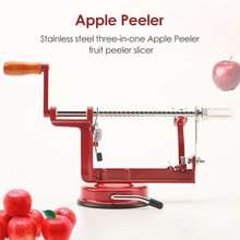 VKTECH paslanmaz çelik 3 in 1 elma soyucu meyve soyma dilimleme makinesi ev mutfak aracı elma soyulmuş kesme dilimleyici parçalayıcı
