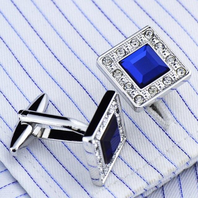 Metal Blue Crystal  Classic  Luxury Cufflinks 4