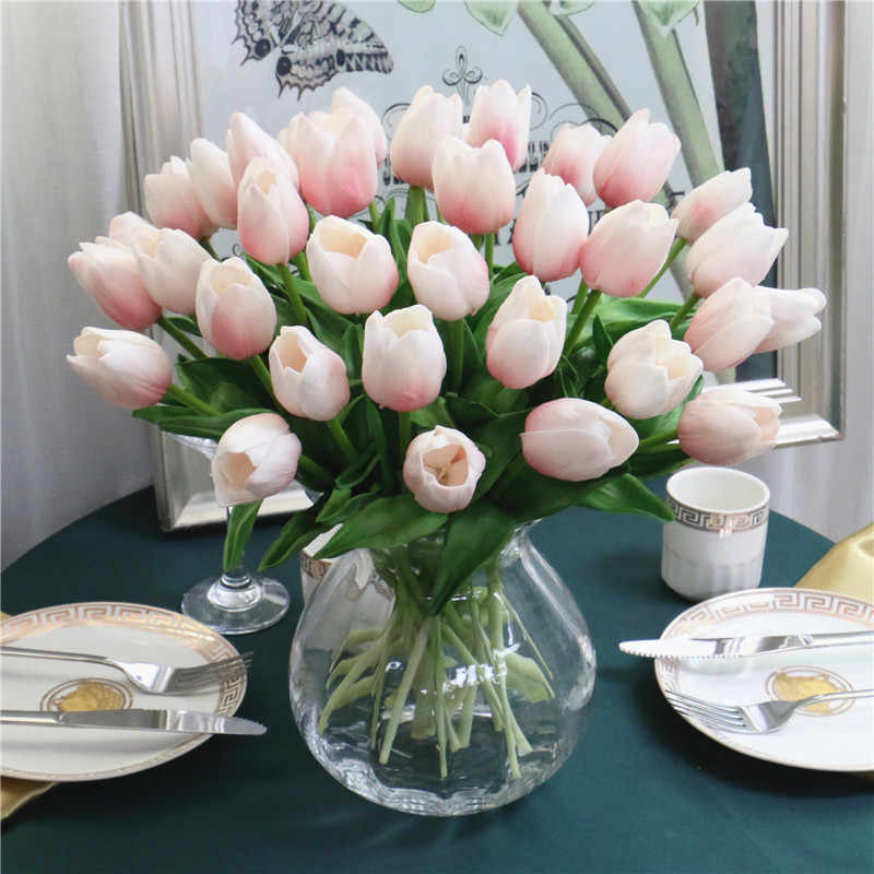 Gratis Pengiriman 31 Buah/Banyak PU Mini Bunga Tulip Sentuhan Nyata Bunga Pernikahan Buket Bunga Sutra Buatan untuk Dekorasi Pesta Rumah