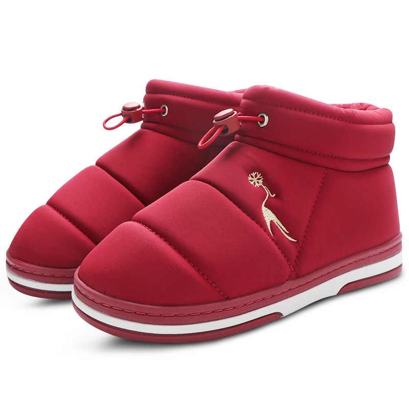 Kış yarım çizmeler kadınlar için kar botları kadın peluş ev ayakkabıları sıcak su geçirmez bayan ayakkabıları nedensel açık Botas Feminina