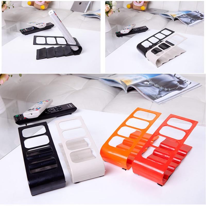4 Fram Plastic <font><b>Remote</b></font> Control Storage Shelf DVD TV Cell Phone Stand Storage Holder Living Room Desktop Caddy Organizer <font><b>Rack</b></font> Tool image