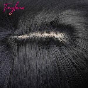 Image 2 - זעיר לנה שחור ארוך ישר פאה עם פוני שיער סינטטי פאות לנשים שחורות חום עמיד סיבי Cosplay תלבושות פאה