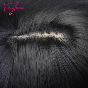 Image 2 - Pequeña Peluca de LANA negra larga y recta con flequillo, pelucas sintéticas para mujeres negras, peluca de disfraz de fibra resistente al calor para Cosplay