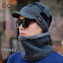 COKK Korean Thickened Men Knitted Hat Scarf Set Velvet Thickening Set Ear Protect Warm Beanies Collars Sets Skullies Beanies New