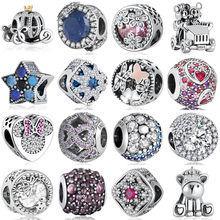 S925 Silver Jewelry Daisies Pumpkin Car Bright Star Unicorn Dragonfly Butterfly Enchanted Snow Bead Charms fit Pandora Bracelets(China)