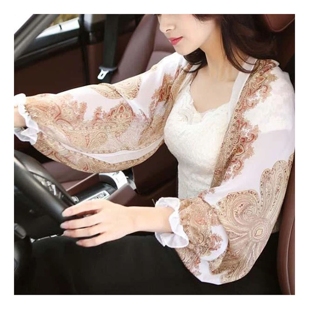 UV-proof Sleeve Shawl Breathable Sunproof Printed Women Sleeve Shawl For Oudtoor Riding Driving HSJ88