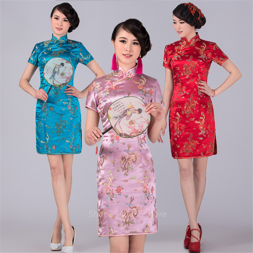 Dragon&Phoenix Chinese Wedding Dress Elegant Qipao Traditional Costumes Split Dress For Women Sexy Vestidos Lady New Year Party