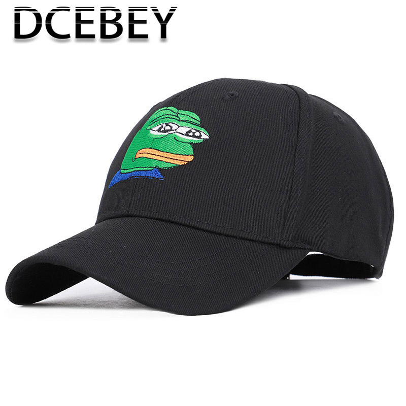 Frog Pattern Embroidery Baseball Cap Men Summer Snapback  Casquette Cotton Dad Hat Women Ponytail gorra hombre