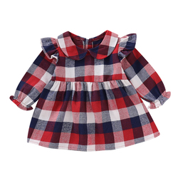 Милое зимнее платье для маленьких девочек; платье принцессы с оборками и длинными рукавами; одежда в клетку для маленьких девочек; вечерние ...