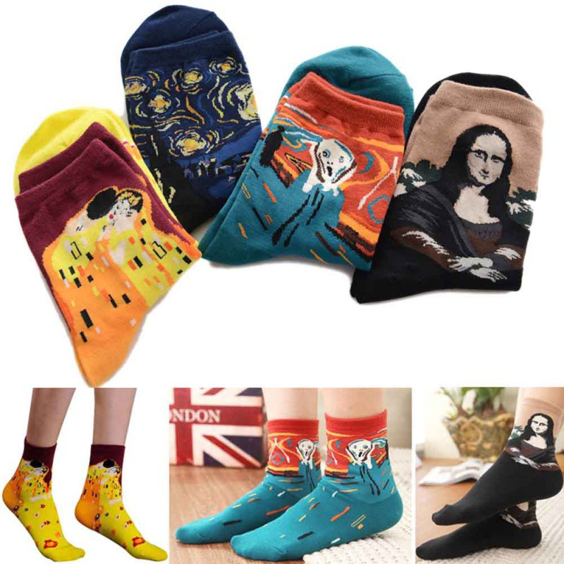 Classic Socks Autumn Winter Retro Women Personality Art Van Gogh Mural World Famous Painting Female Socks Oil Happy Socks