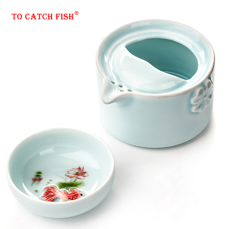 High Quality Elegant Gaiwan,Celadon 3D Carp Kung Fu Tea Set Include 1 TeaPot 1 TeaCup,Beautiful And Easy Teapot Kettle.