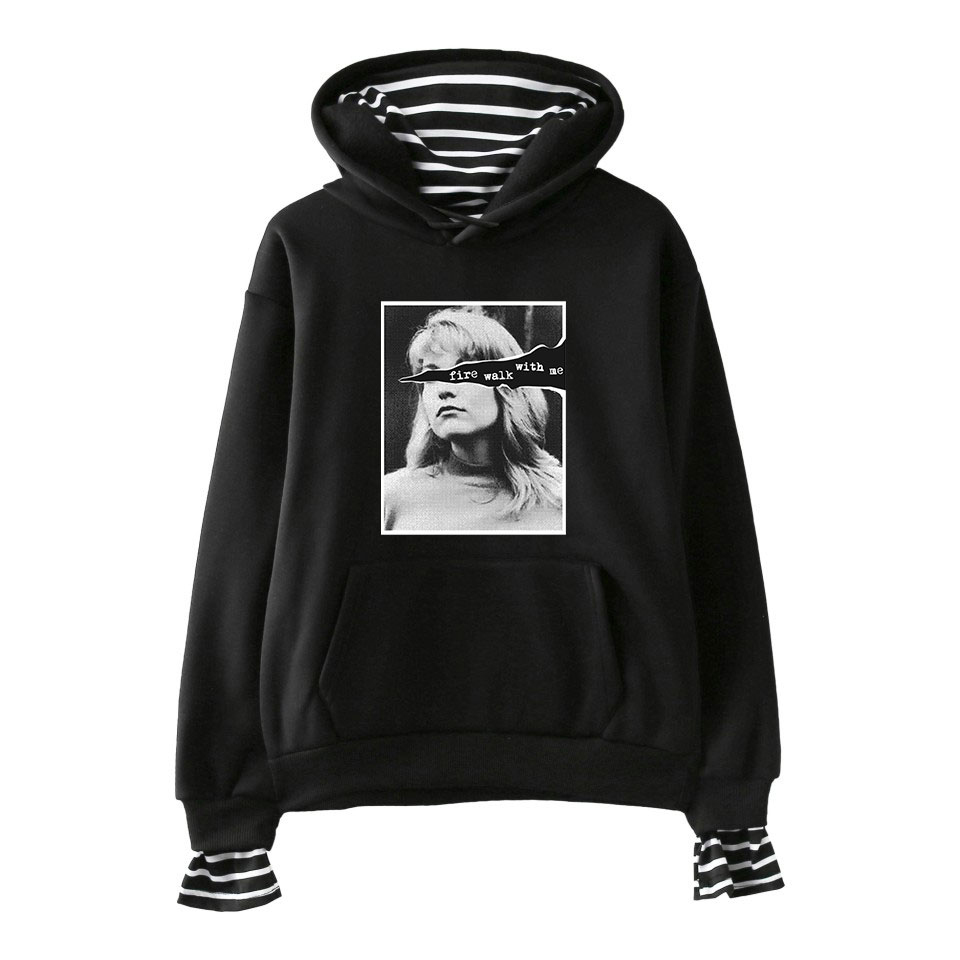 Twin Peaks Harujuku Fake Two Pieces Hoodies Sweatshirt Long Sleeve Hooded Winter/Autumn Kpop Harajuku Women Fashion Sweatshirts
