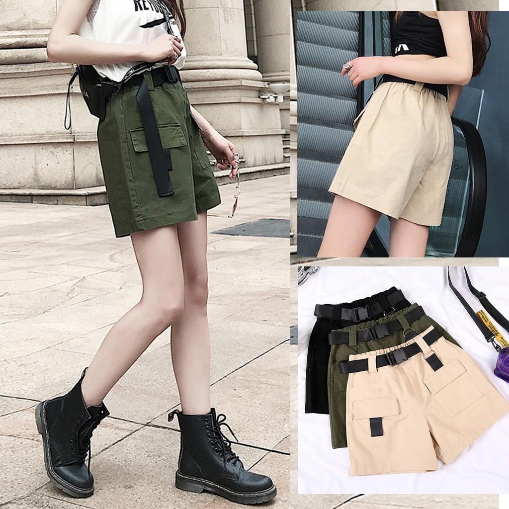 New 2020 Women Shorts Summer Loose Pocket Short Overalls Add A Belt Summer Fashion Lady High Waist Casual Шорты Женские#3