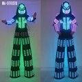 Светодиодный робот  одежда  RGB цвет  светодиодные светящиеся огни  одежда  ходунки  робот  костюм  DJ  ночной клуб  вечеринка  сценическое шоу  о...