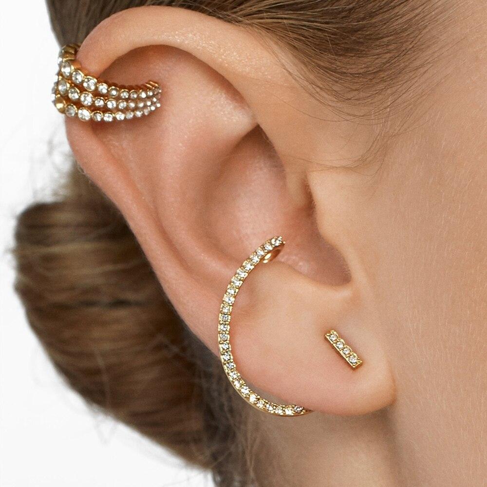 Fashion White CZ Zircon Stud Earrings for Women Trendy Charm Crystal Earrings C-shaped Ear Cuffs Wedding Party Jewelry