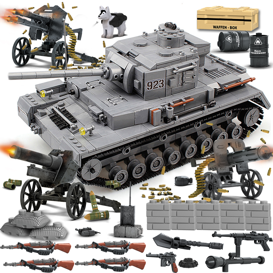 WW2 German Tiger IV Tank Army Soldier Figures Weapon Upgrade Parts Building Blocks Compatible Legoed Military Vehicle Bricks Toy