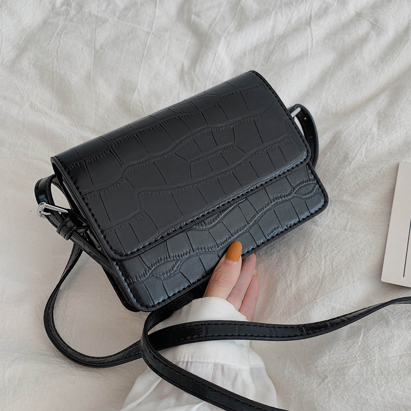 Stone Pattern Mini Leather Crossbody Bags For Women 2019 Solid Color Shoulder Messenger Bag Luxury Cell Phone Handbags