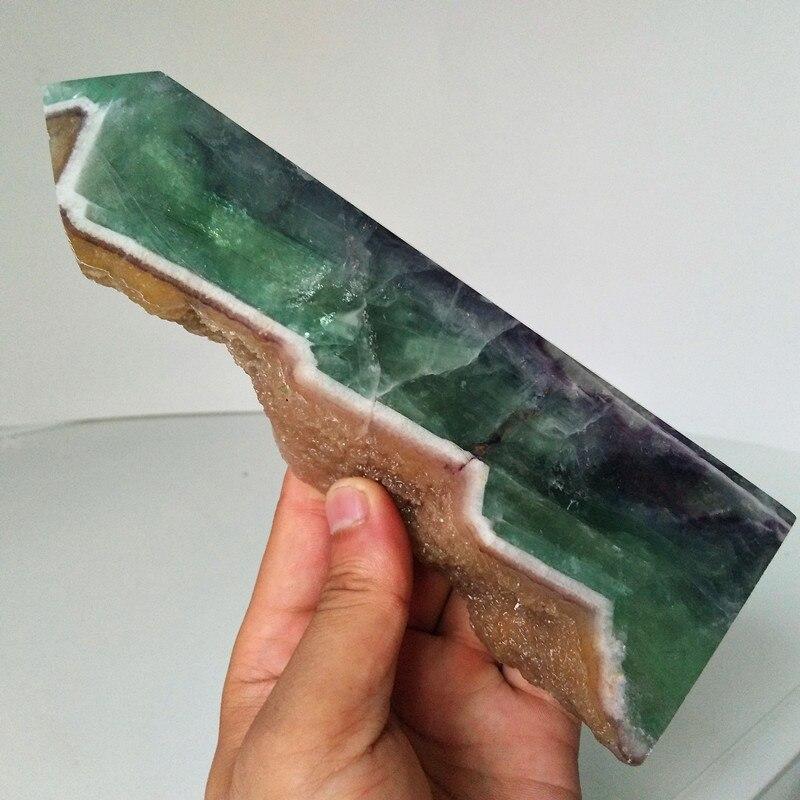 Pietra naturale verde fluorite bacchetta di cristallo punto di Feng shui grezzo della pietra preziosa pietre curative cristalli obelisco-in Pietre da Casa e giardino su  Gruppo 1