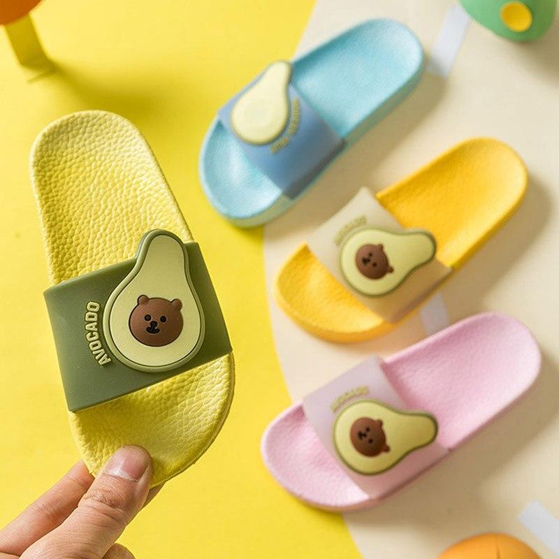 Cute Avocado Slippers For Boys Girls Kis Soft Cartoon House Shoe Casual Soft Children Flip Flops Summer Toddler Beach Slippers