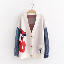 Autumn Spring Women Sweater Women 2019 New Mori Girl V neck Denim Sleeve Long sleeved Cardigan Brief Loose Women Coat YoYiKamomo