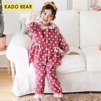 Christmas Coral Fleece Pajamas Set Children Princess Pyjamas Suit Kids Flannel Sleepwear Toddler Girl Winter Fur Plush Nightwear