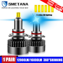 H7 Led Bulbs 2pcs 6 sided shine L3 D1S D2S D3S D4S H1 H8 H9 H11 9005 9006 9012 Canbus Led Headlight led Headlamp 360° 16000LM