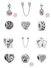 Ajuste original pandora encantos pulseira de prata cor infinity corações & estrelas amor casal grânulo diy jóias fazendo berloque venda