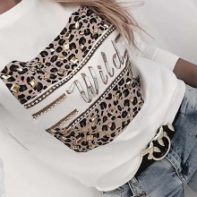 Shirt Spring Blouses Leopard-Top Long-Sleeve Fashion Letter-Print Female Casual Lady