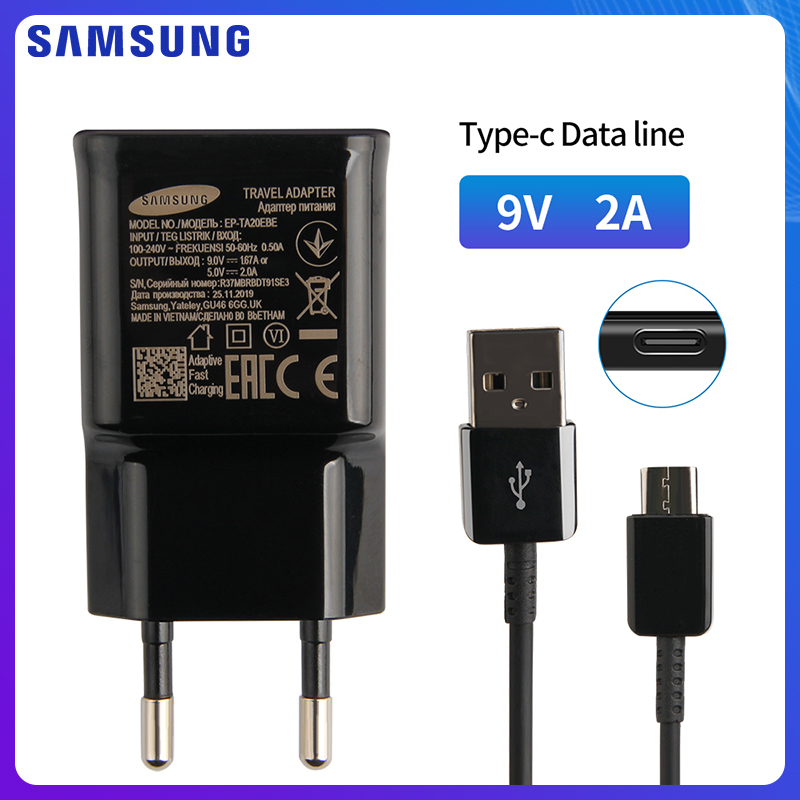 SAMSUNG Original Quick Charge Travel Charger For Samsung GALAXY S9 A8+ S8 2018 C7 Note 9 Pro A60 A70 A80 Note 8 S9Plus USB TypeC