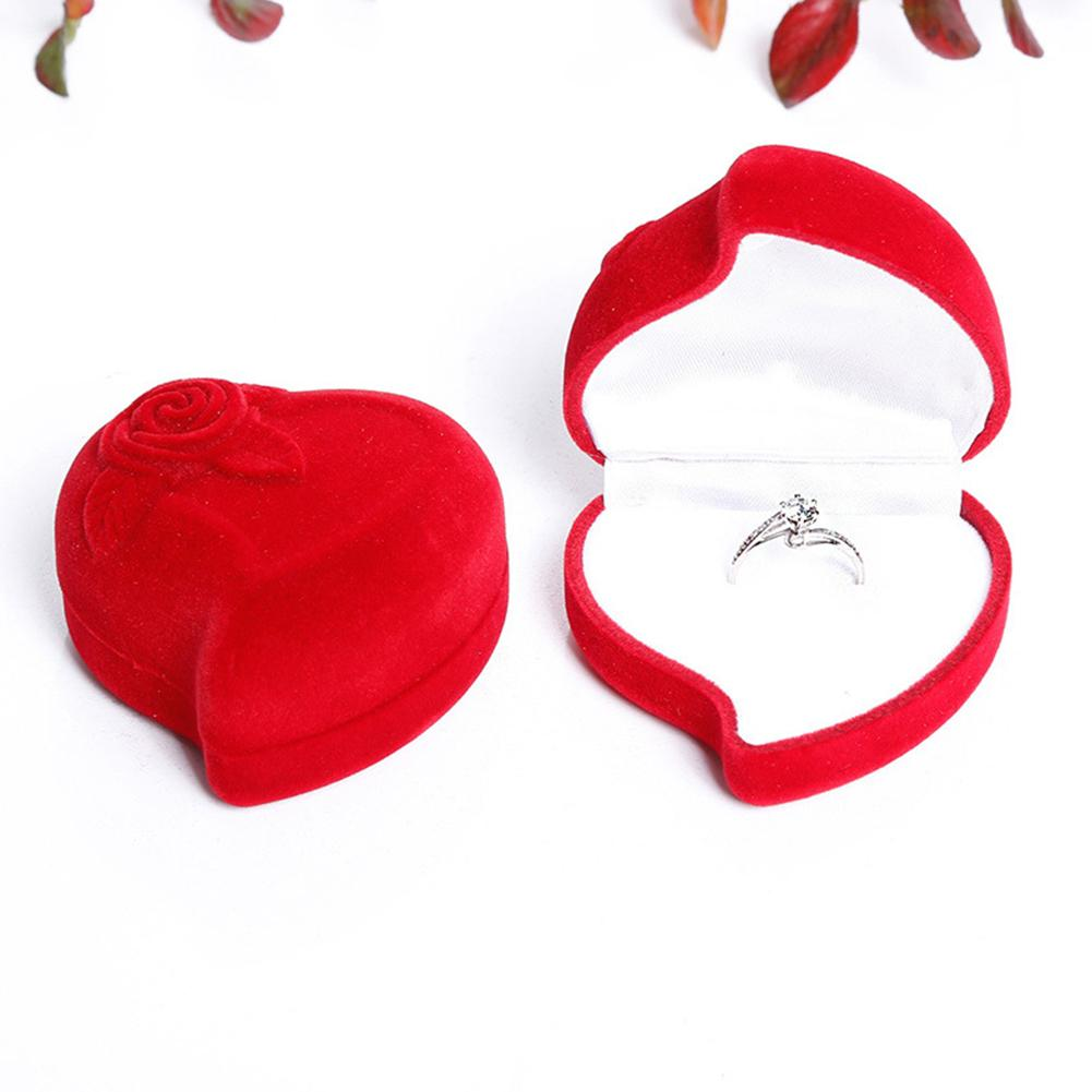 Rose Heart Shape Proposal Wedding Ring Display Holder Box Jewelry Storage Case Jewelry Display Wedding Ring Boxes Rose Ring Case