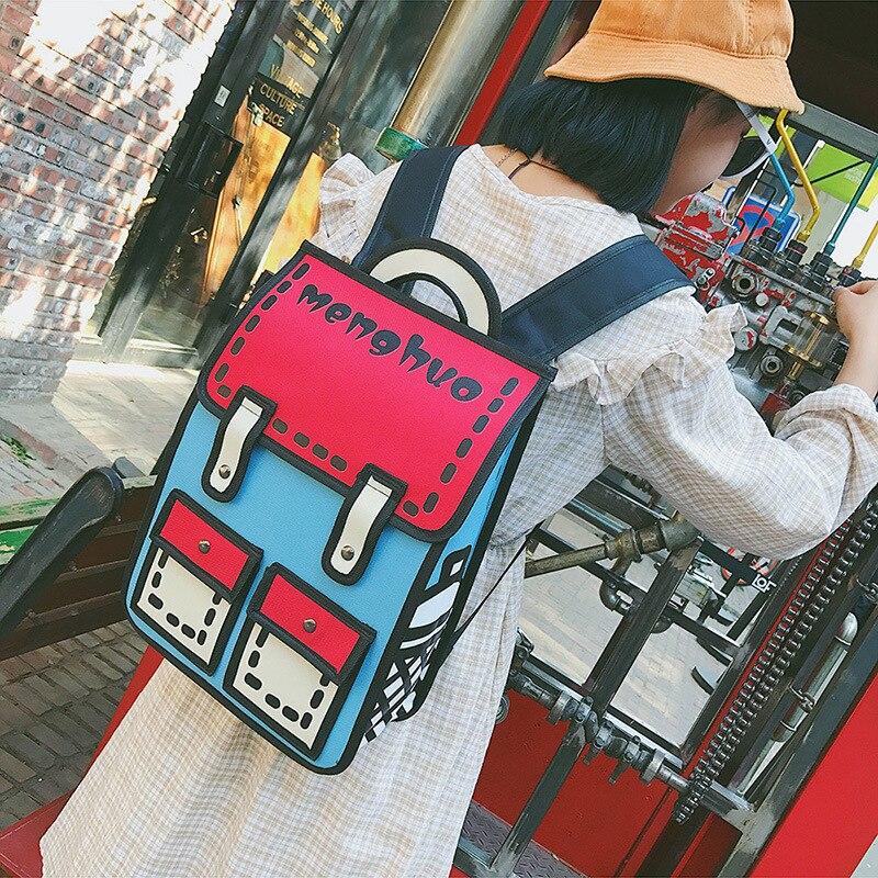 Купить с кэшбэком 2020 New Fashion Unisex backpack 2D drawing back packs women cartoon comics bag 3D schoolbag college travel bags for girls