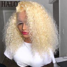 Wigs Human-Hair Blonde Curly Deep-Wave-Frontal Transparent Pre-Plucked 613 Black-Women