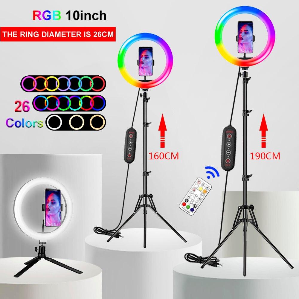 12 дюймовая цветная (RGB) кольцевой светильник Profissional селфи светодиодный кольцевой светильник макияж лампа для видеосъемки в студии со штатив...