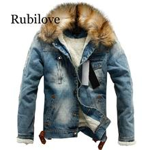 Rubilove 2019 new men jeans jacket and coats denim thick warm winter outwear S-4XL
