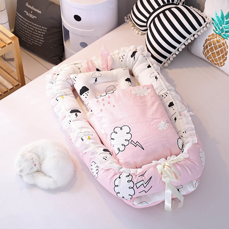 Portable Baby Crib Bed Washable With Quilt Infant Crib Bedding Sets Foldable Newborn Cot Nest Baby Bassinet Travel Bed
