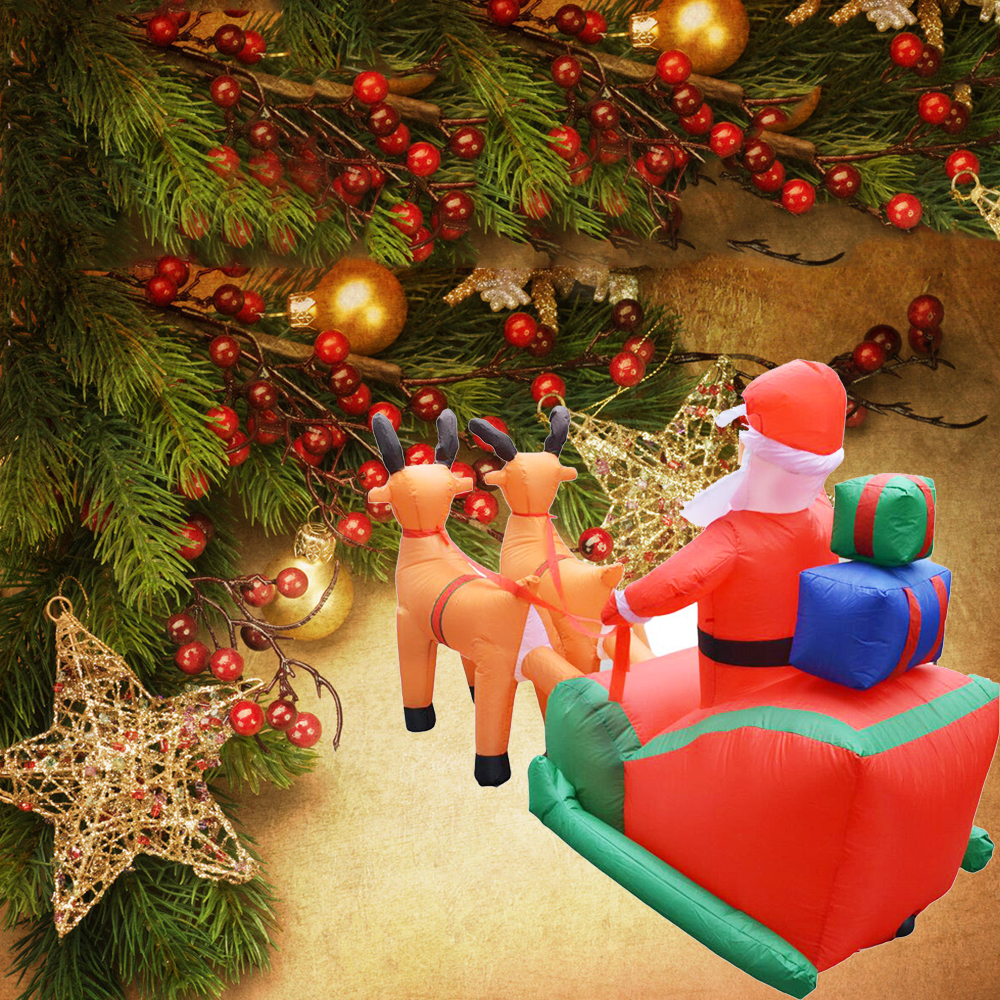 Christmas Inflatable Deer Cart Christmas Double Deer Cart Santa Claus Christmas Dress Up Decorations Welcome Props - 3