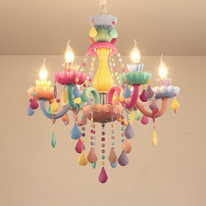 Modern Colorful Crystal Chandelier Lights Lustre Crystal Chandelier Romantic Crystal Chandelier Modern Bedroom Chandelier Light