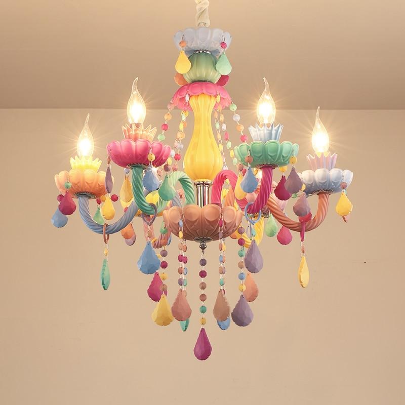 moderno colorido luzes lustre de cristal lustre de cristal romantico lustre de cristal moderno quarto lustre