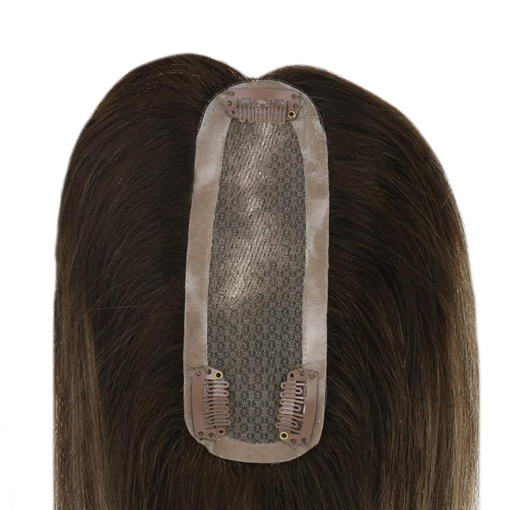 Vesunny Hairpiece Topper Toupee Human-Hair Mono-Base Real with 3-Clips 2x6-inches/Balayage/Highlighted-color