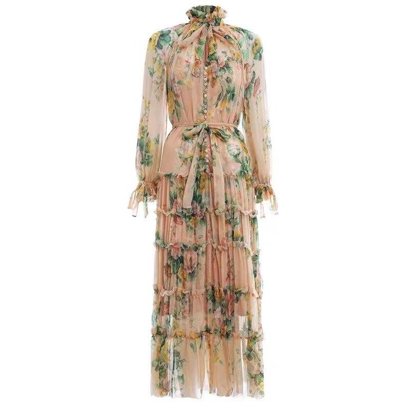SMTHMA automne et hiver volants femmes robe Sexy col en v unique imprimé flore plissée en mousseline de soie longue robe - 4